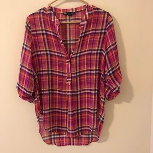 ‼️2 for $20‼️ Pink Plaid Semi Sheer Blouse